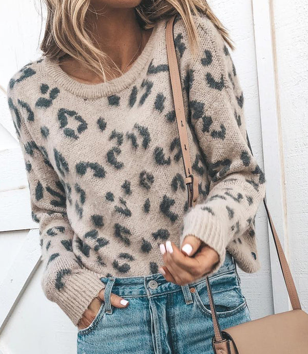 Casual Leopard Print Round Neck Knitted Sweater - Picolamo