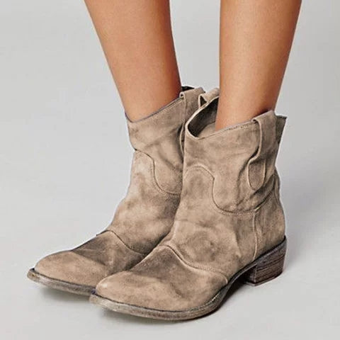 Brief Mid Heel Chunky Solid Color Boots