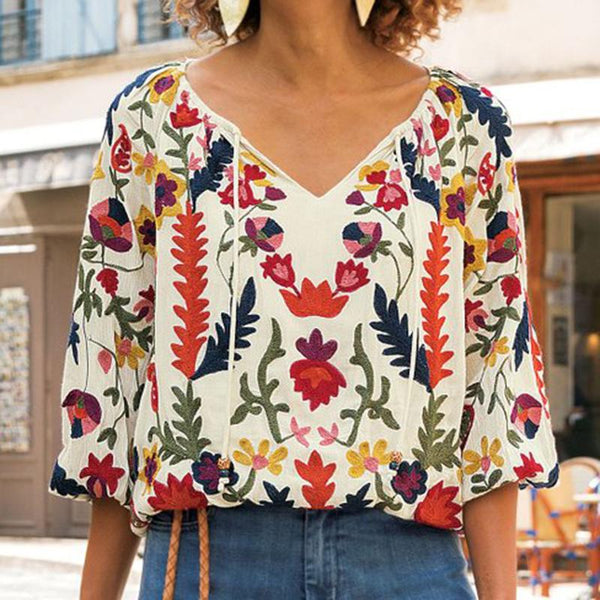 Casual V-Neck Cropped Sleeve Printed Shirt - Picolamo