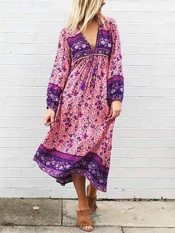Bohemia Printed Deep V Neck Dress