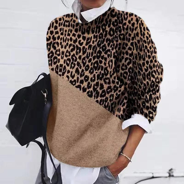 Fashion leopard stitching loose knit sweater