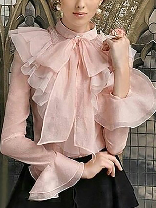Women's fashion ruffled solid color blouse