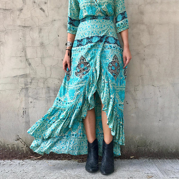 Fashionable belted print irregular dress