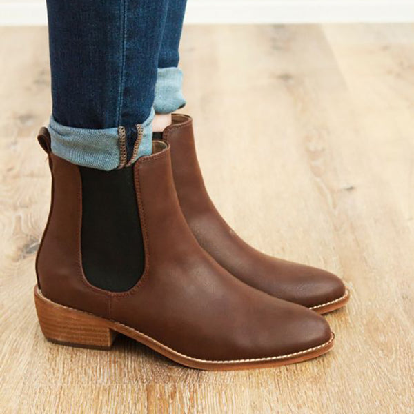 Fashion Color Matching Low Heel Boots