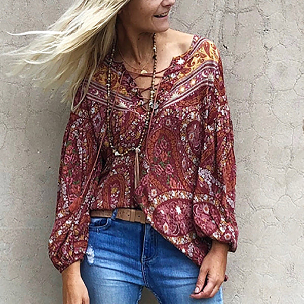Bohemian holiday long sleeve printed v-neck top