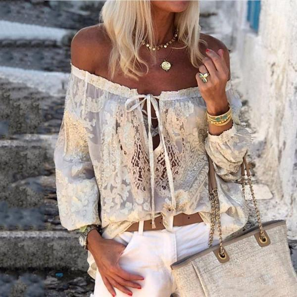 Bohemian Printed Sexy Word Collar Ruffled Long-Sleeved T-Shirts - Picolamo