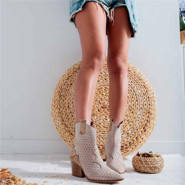 Ladies fashion leather stitching perforated heels ankle boot