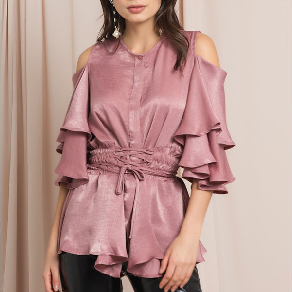 Womens Fashion Off-the-shoulder Ruffled Top