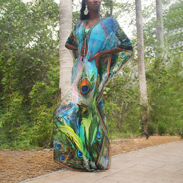 Fashion Beach Printed Color Vacation Cover Ups Dress