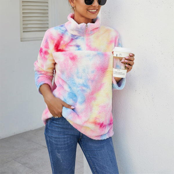 Individuality Rainbow Color Turndown Collar Plush Sweatshirt