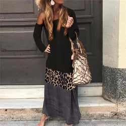 Casual Fashion Leopard Splicing Off-Shoulder Maxi  Dress