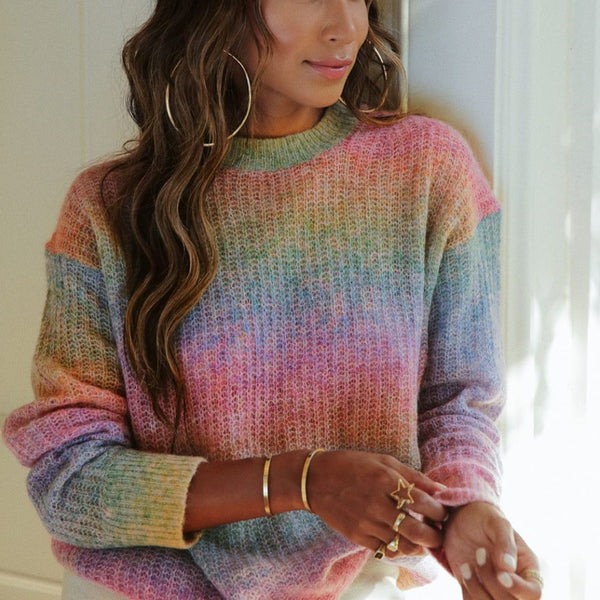 Fashion color gradient round collar sweater