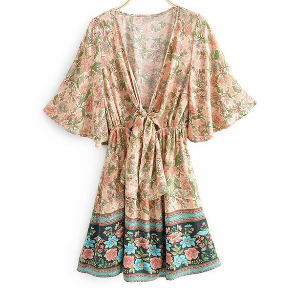 Sexy Deep V Neck Printed Halflong Sleeve Dress