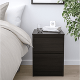 KULLEN Chest of 2 Drawers - Black - Brown - 35x49 cm