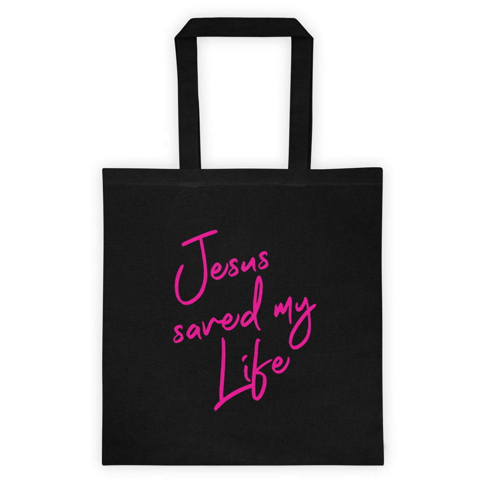 Jesus Saved My Life Cotton Canvas Tote - VerilyU