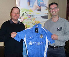 Stockport County signed shirt donation to NK Theatre