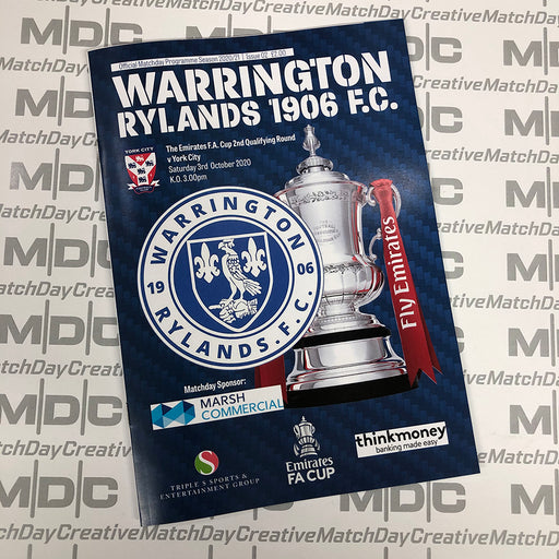 Warrington Rylands v York City FA Cup Programme
