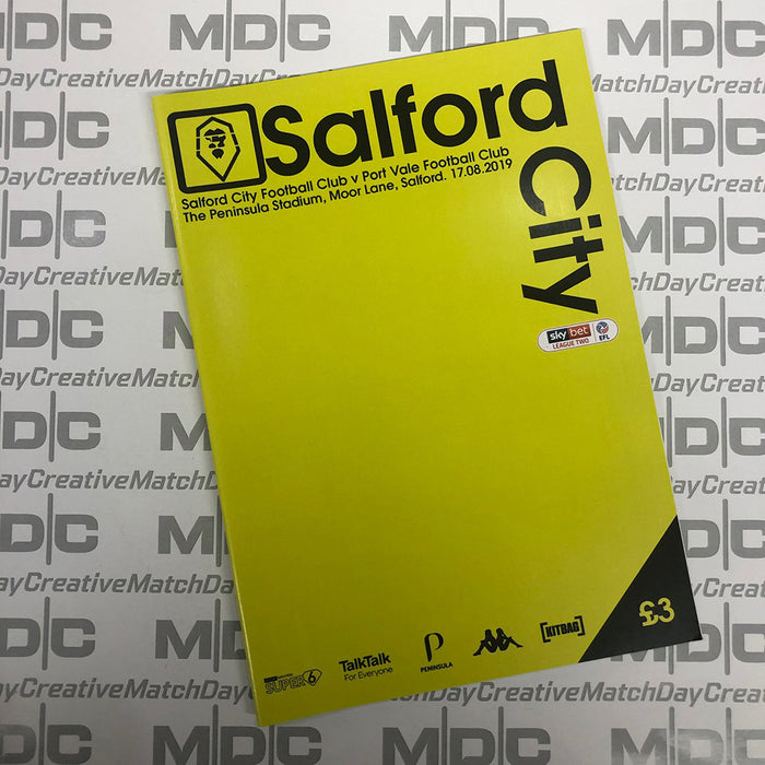 2019/20 #03 Salford City v Port Vale SkyBet League 2 17.08.19 Programme