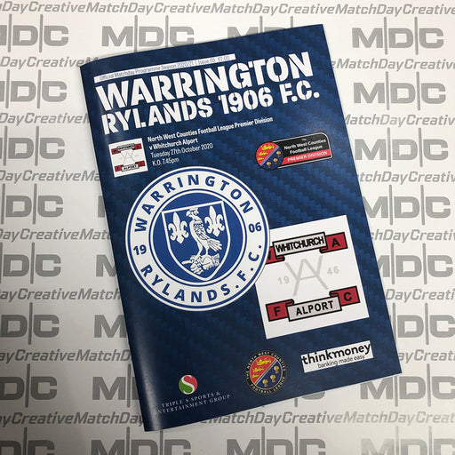 Warrington Rylands v Whitchurch Alport Programme