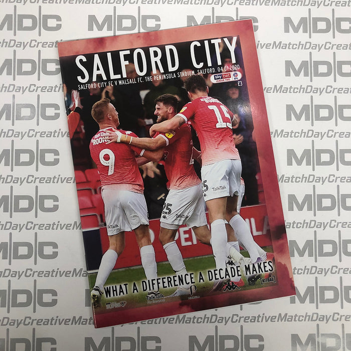 2019/20 #17 Salford City v Walsall SkyBet League 2 04.01.20 Programme