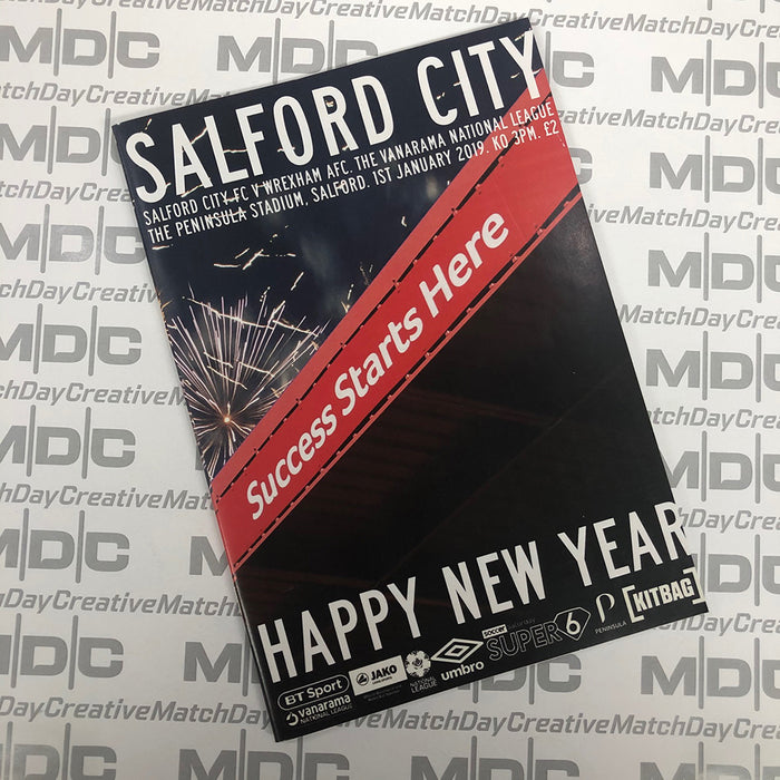 2018/19 #18 Salford City v Wrexham National League 01.01.19 Programme