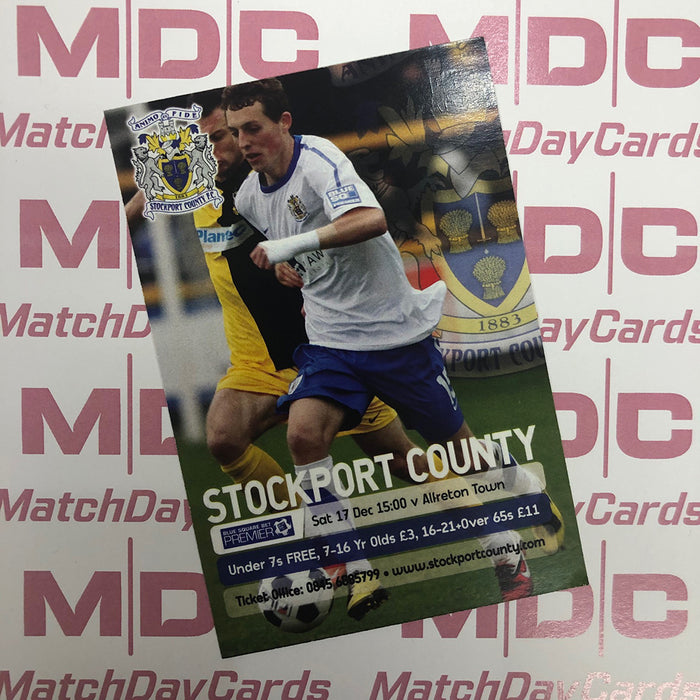 2011-12 10 Stockport County Danny Whitehead Match Day Card