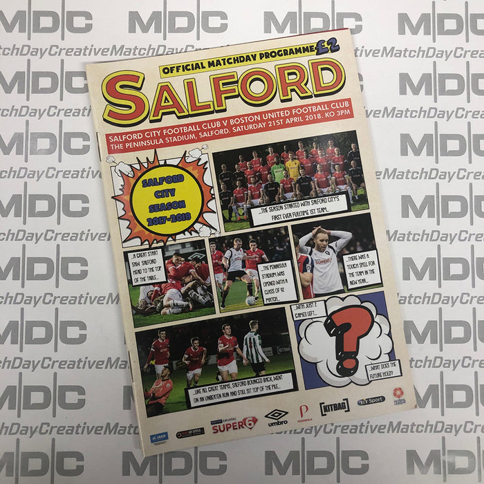 2017/18 #23 Salford City v Boston United National League North 21.04.18 Programme