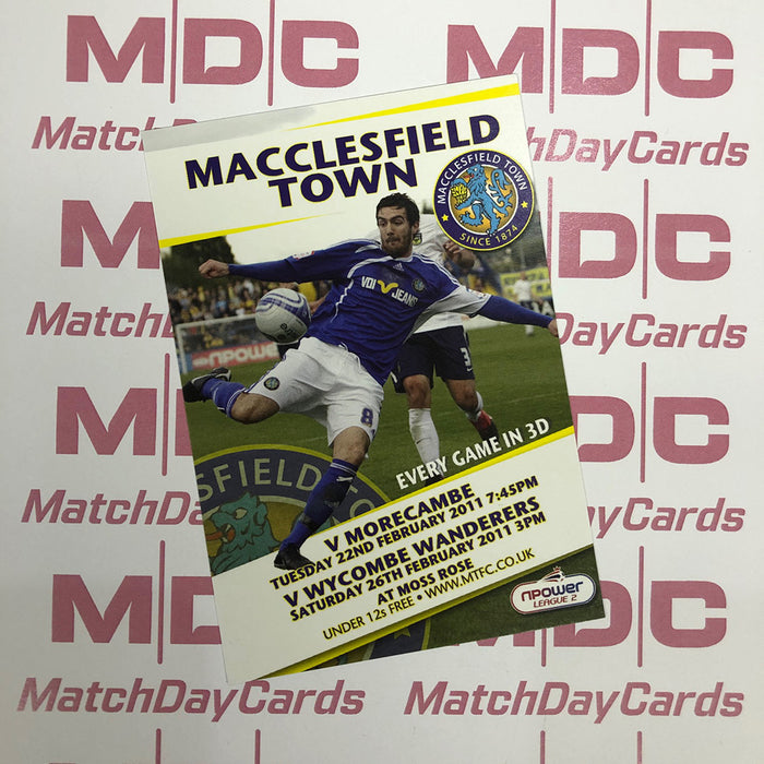 Macclesfield Town v Morecambe and v Wycombe Wanderers Trading Card