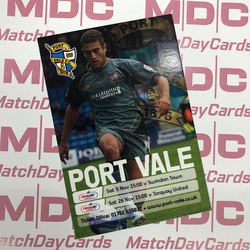 Port Vale v Swindon Town and v Torquay United Trading Card