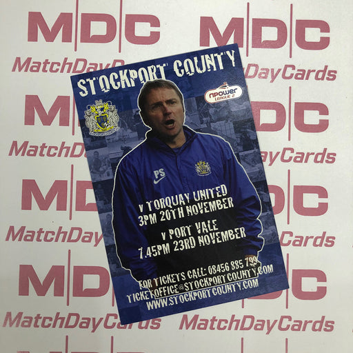 Stockport County v Torquay United and v Port Vale Trading Card