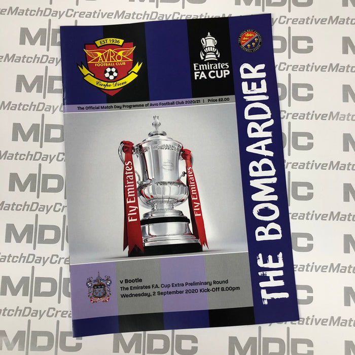 2020/21 #01 Avro v Bootle FA Cup 01.09.20 Programme
