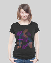 "Laden Sie das Bild in den Galerie-Viewer, Low Cut  Shirt Dark Heather Black ""Abstrakt"""