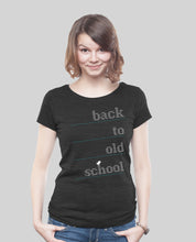 "Laden Sie das Bild in den Galerie-Viewer, Low Cut  Shirt Dark Heather Black ""Oldschool"""