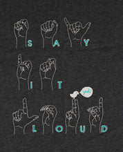"Laden Sie das Bild in den Galerie-Viewer, Bio T-Shirt Dark Heather Grey ""Say It Loud"""