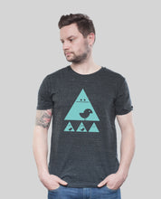 "Laden Sie das Bild in den Galerie-Viewer, Bio T-Shirt Dark Heather Grey ""Achtung Birdy Mint"""