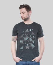 "Laden Sie das Bild in den Galerie-Viewer, Bio T-Shirt Dark Heather Grey ""Blocks"""