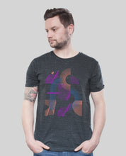 "Laden Sie das Bild in den Galerie-Viewer, Bio T-Shirt Dark Heather Grey ""Abstrakt"""