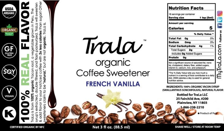 TraLa Organic Coffee Sweetener FRENCH VANILLA