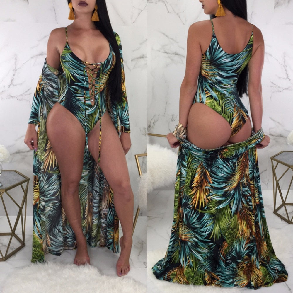 One Piece Swimsuit with Beach Cover-Ups