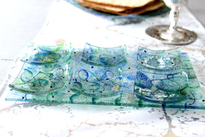 Artisanal Blue and Green Glass Seder Plate - The Jewish Kitchen