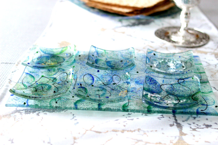 Artisanal Blue and Green Glass Seder Plate