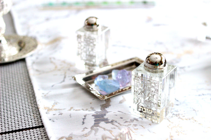 Etched Crystal Jerusalem Salt & Pepper Shakers