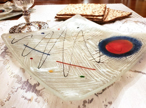Artisanal White Glass Matzoh Plate with Modern Paint Splashes