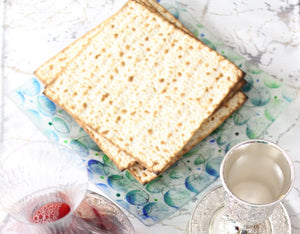Artisanal Blue and Green Glass Matzoh Plate - The Jewish Kitchen