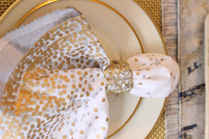 Jeweled Gold Open Weave Napkin Rings, Set of 4 - The Jewish Kitchen
