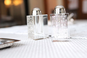 Etched Crystal Jerusalem Salt & Pepper Shakers - The Jewish Kitchen