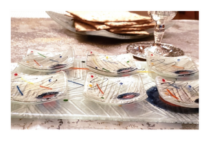 Artisanal White Seder Plate with Modern Paint Splashes