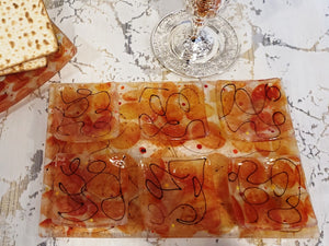 Artisanal Amber and Orange Glass Seder Plate