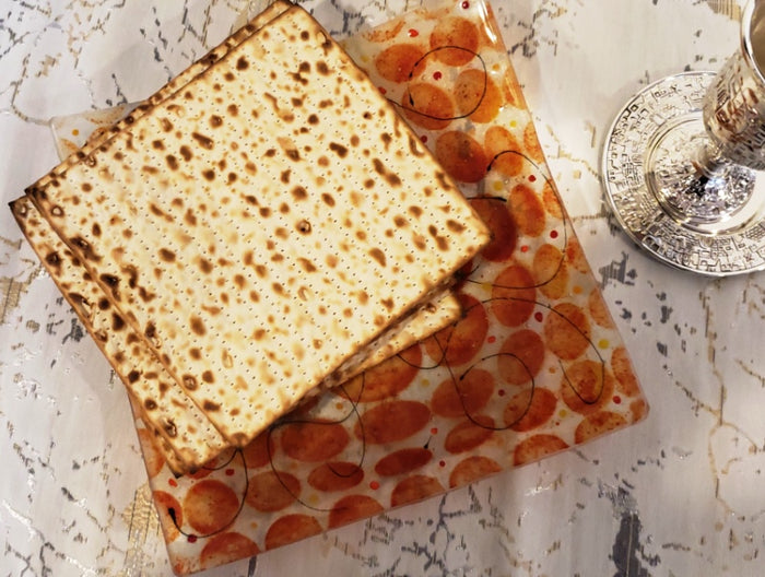 Artisanal Amber and Orange Glass Matzoh Plate