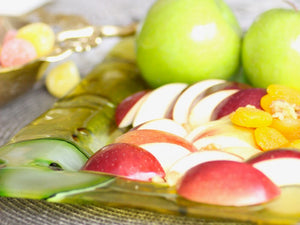 Festive Apples Glass Platter - The Jewish Kitchen